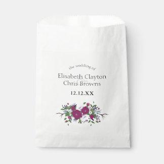 Botanical purple violet flower bouquet wedding favor bag