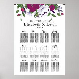 Botanical purple violet flower bouquet wedding poster