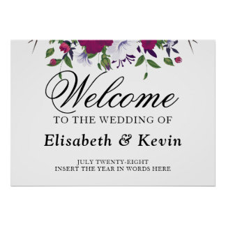 Botanical purple violet flower bouquet wedding poster