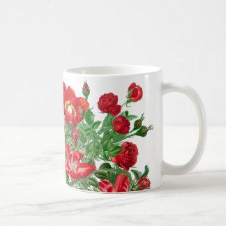Botanical Red Peony Rose Flowers Floral Mug