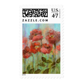 Botanical Red Poppy Flowers Painting Postage