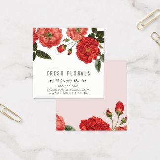 BOTANICAL RED ROSES flower stylish vintage floral Square Business Card