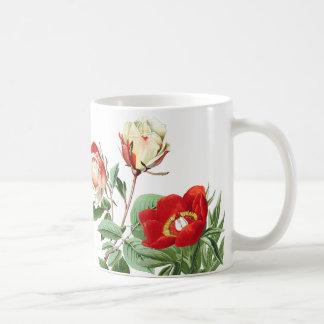 Botanical Red Roses Peonies Flower Floral Mug