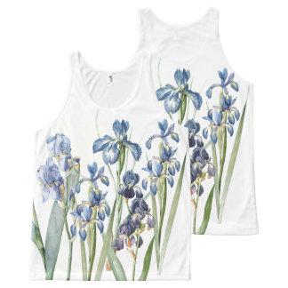 Botanical Redoute Iris Flowers Floral Garden All-Over Print Tank Top