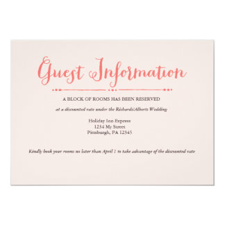 Botanical Romance Wedding Information Card