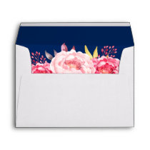 Botanical Rose Floral Navy Blue 5x7 Wedding Envelope