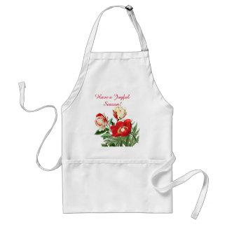 Botanical Rose Peony Flower Floral Christmas Apron