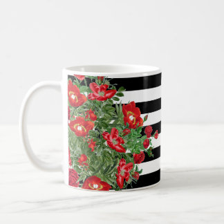 Botanical Roses Peony Flowers Floral Stripes Mug