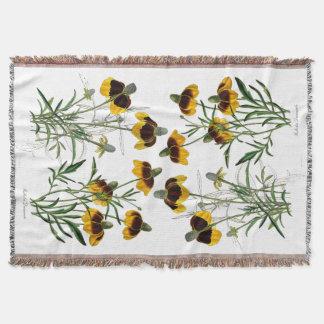 Botanical Rudbeckia Flowers Coneflowers Floral Throw Blanket