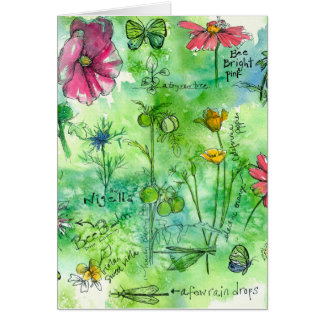 Botanical Sketchbook Watercolor Flowers Thank You Card
