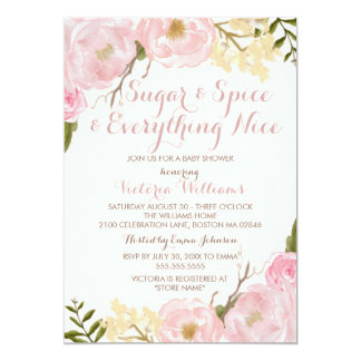 Botanical Sugar & Spice Girl Baby Shower Invite