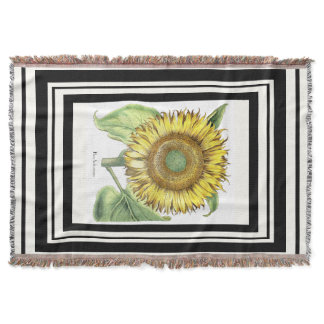 Botanical Sunflower Flower Floral Stripe Throw