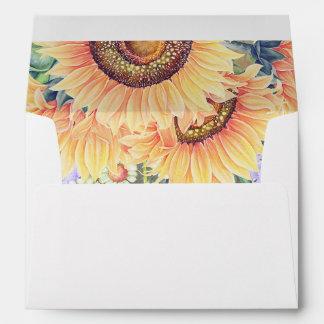 Botanical Sunflowers Watercolor Floral Rustic Envelope