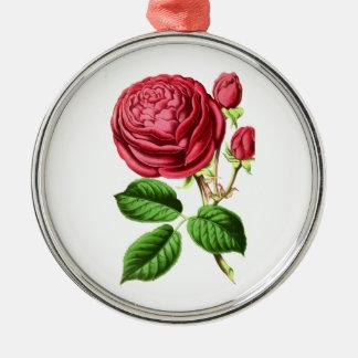 Botanical Tea Rose Metal Ornament