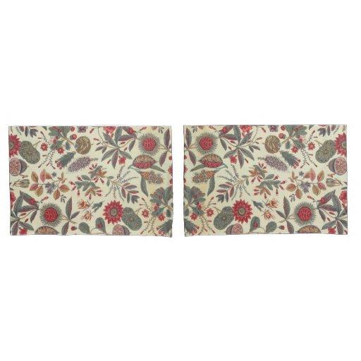 Botanical textile design pillow case