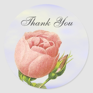 Botanical Thank You Pink Rosebud Sticker
