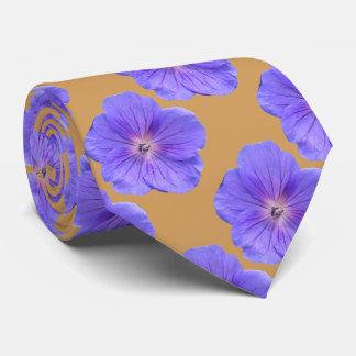 Botanical Tiled Blue Geranium Flower Photo Neck Tie