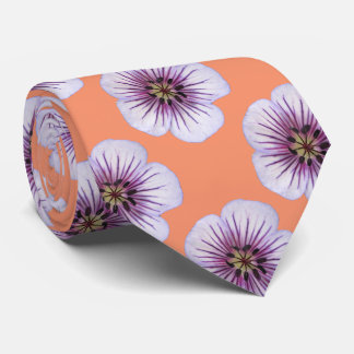 Botanical Tiled Pale Blue Geranium Flower Photo Tie