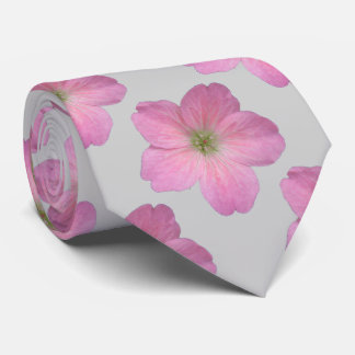 Botanical Tiled Pink Geranium Flower Photo Tie