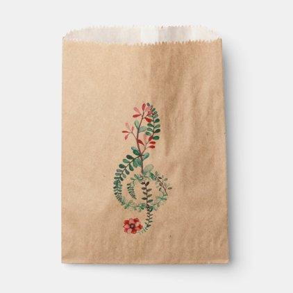 Botanical Treble Clef Favor Bag