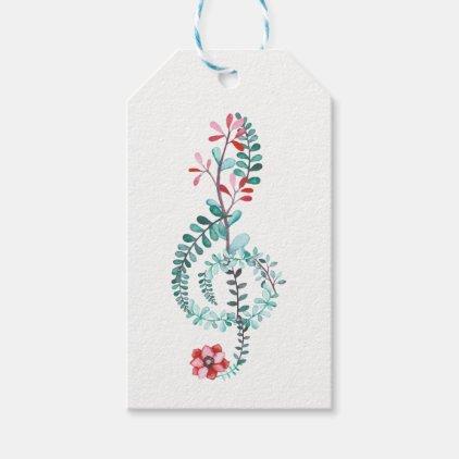 Botanical Treble Clef Gift Tags