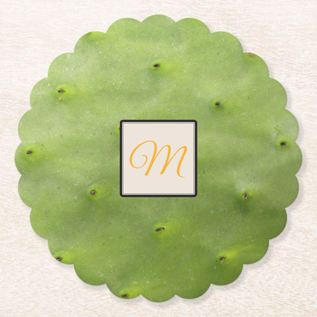 Botanical Tropical Green Cactus Photo Monogram