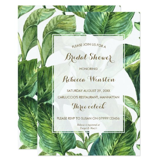 botanical tropical leaves bridal shower invitation