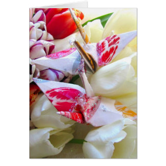 Botanical Tulips with Origami Peace Cranes Card