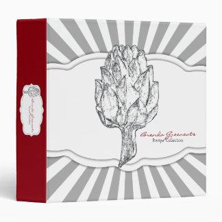 Botanical vintage artichoke sketch recipe cookbook binder