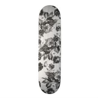 Botanical vintage black white roses floral skateboard