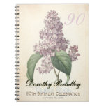 Botanical Vintage Lilac 90th Birthday Guest Book Spiral Notebook