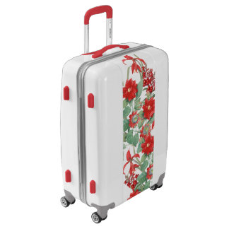 Botanical Vintage Red Flowers Floral Luggage