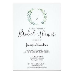 f2ba336e5bf2 Botanical watercolor branch monogram Bridal Shower Invitation