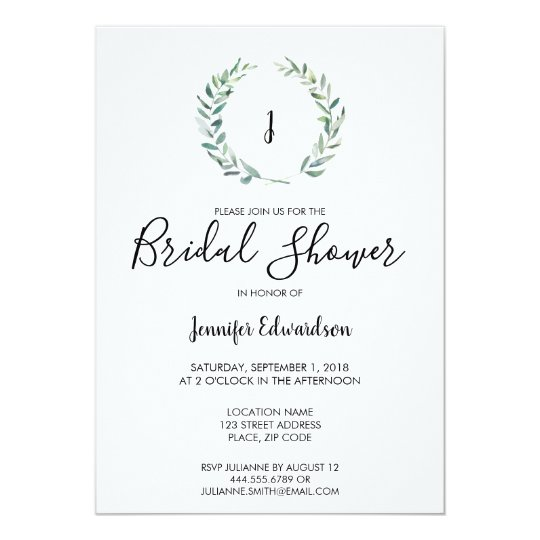 botanical watercolor branch monogram bridal shower invitation