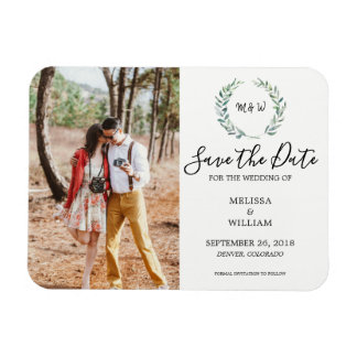 Botanical watercolor leaves photo Save the Date Magnet