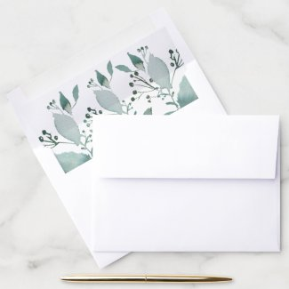 Botanical Watercolor Leaves Sage Teal Green Envelope Liner