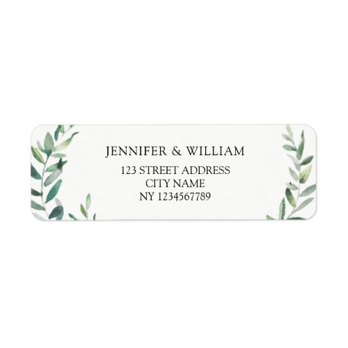 Botanical Watercolor olive branch return address Label