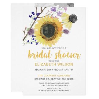 Botanical Watercolor Sunflowers Bridal Shower Card