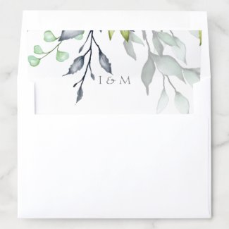 Botanical Wedding Personalized Envelope Liner