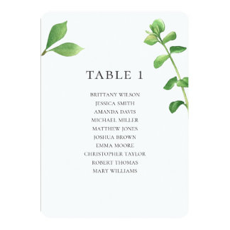 Botanical wedding seating chart. Summer leaves Invitation