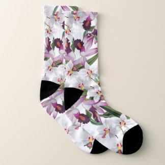 Botanical White Lavender Orchid Flowers Socks