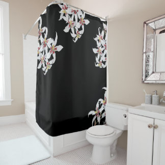 botanical white orchid flowers floral garden shower curtain