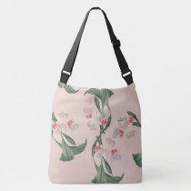Botanical White Orchid Flowers Shoulder Tote Bag