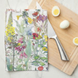 """Botanical Wildflower Flowers Kitchen Towel<br><div class=""""desc"""">Gorgeous  collage of vintage botanical fine art of Poppies,  Irises,  Crocus,  Foxglove and Mullein Family of Wildflower Flowers,  with some botany notes,     is on this Kitchen Towel.  Images are  public domain due to expired copyright. Collage is by me.</div>"""