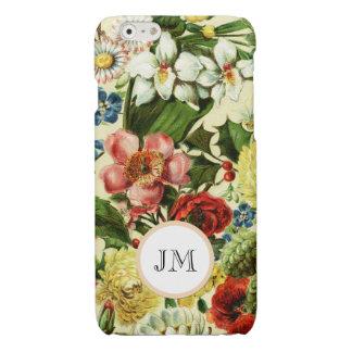 Botanical wildflower summer garden monogram glossy iPhone 6 case
