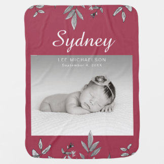 Botanical with Photo Swaddle Blanket