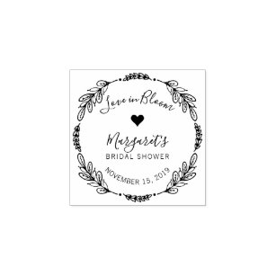 botanical wreath love in bloom bridal shower rubber stamp