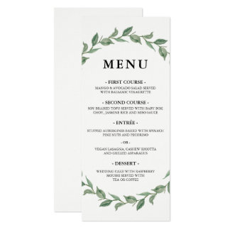 Botanical Wreath Modern Typography | Wedding Menu Card