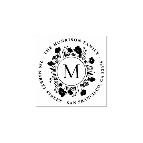 Botanical Wreath Monogram Round Return Address Rubber Stamp