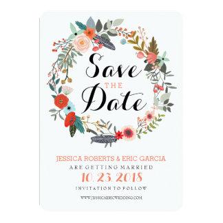 Botanical Wreath Save the Date Card